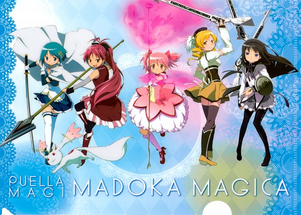 Tags: Anime, Shaft (Studio), Mahou Shoujo Madoka☆Magica, Kyubee, Tomoe Mami, Miki Sayaka, Kaname Madoka, Sakura Kyouko, Akemi Homura, Official Art, Scan, Magical Girl Madoka Magica