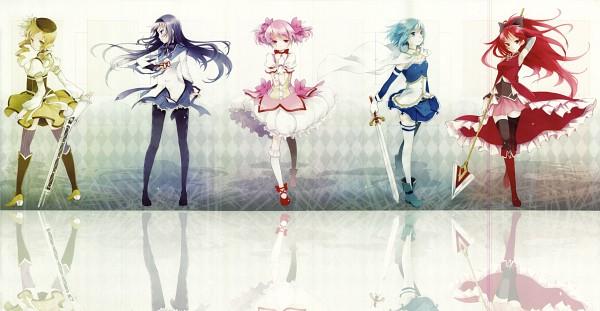 Tags: Anime, Kaedena Akino, Mahou Shoujo Madoka☆Magica, Akemi Homura, Sakura Kyouko, Tomoe Mami, Miki Sayaka, Kaname Madoka, Wallpaper, Facebook Cover, Magical Girl Madoka Magica