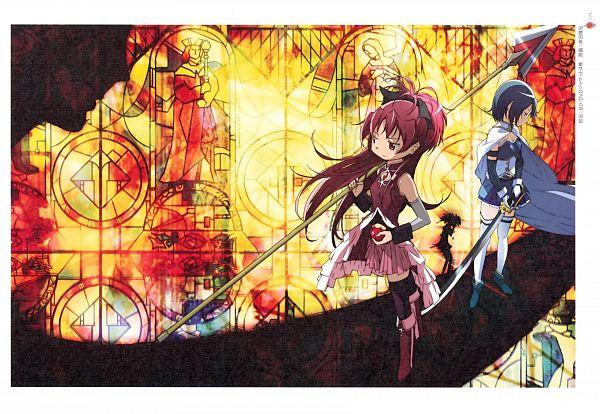 Tags: Anime, Kishida Takahiro, Shaft (Studio), Mahou Shoujo Madoka☆Magica, Puella Magi Madoka Magica - KEY ANIMATION NOTE VOL 4, Sakura Kyouko, Miki Sayaka, Official Art, Scan, Magical Girl Madoka Magica