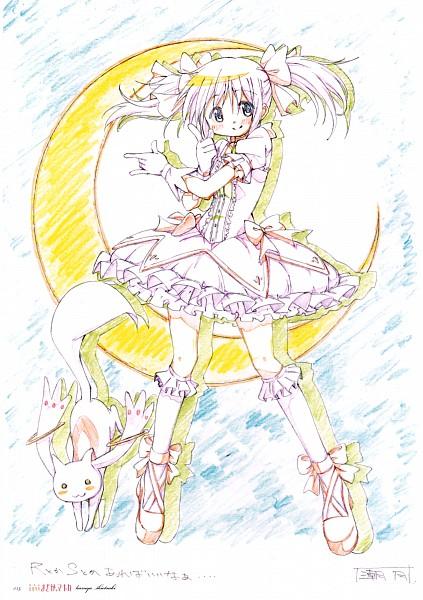 Tags: Anime, Aoki Ume, Shiotsuki Kazuya, Shaft (Studio), Mahou Shoujo Madoka☆Magica, Puella Magi Madoka Magica - KEY ANIMATION NOTE EXTRA, Kyubee, Kaname Madoka, Bishoujo Senshi Sailor Moon (Parody), Mobile Wallpaper, Scan, Official Art, Magical Girl Madoka Magica