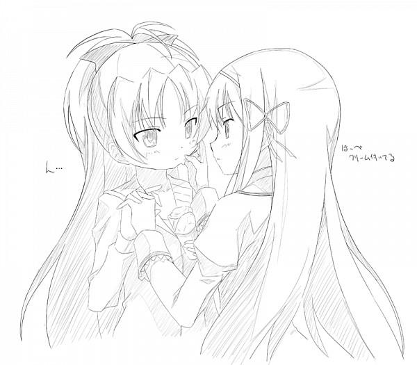 Tags: Anime, Moritan, Mahou Shoujo Madoka☆Magica, Sakura Kyouko, Akemi Homura, Sketch, Magical Girl Madoka Magica
