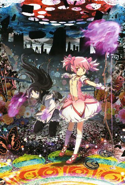 Tags: Anime, Shaft (Studio), Mahou Shoujo Madoka☆Magica, Kaname Madoka, Akemi Homura, Mobile Wallpaper, Official Art, Scan, Magical Girl Madoka Magica