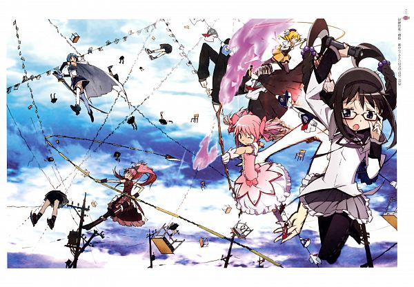 Tags: Anime, Kishida Takahiro, Shaft (Studio), Mahou Shoujo Madoka☆Magica, Puella Magi Madoka Magica - KEY ANIMATION NOTE VOL 5, Akemi Homura, Sakura Kyouko, Mathieu, Tomoe Mami, Miki Sayaka, Patricia (Mahou Shoujo Madoka☆Magica), Kaname Madoka, Official Art, Magical Girl Madoka Magica