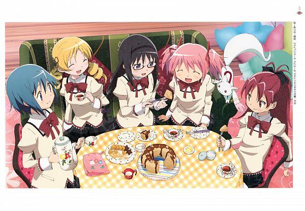 Tags: Anime, Taniguchi Junichiro, Shaft (Studio), Mahou Shoujo Madoka☆Magica, Puella Magi Madoka Magica - KEY ANIMATION NOTE VOL 5, Kyubee, Akemi Homura, Tomoe Mami, Miki Sayaka, Sakura Kyouko, Kaname Madoka, Official Art, Scan, Magical Girl Madoka Magica