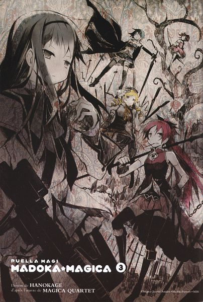 Tags: Anime, Hano, Mahou Shoujo Madoka☆Magica, Sakura Kyouko, Tomoe Mami, Miki Sayaka, Kaname Madoka, Akemi Homura, Scan, Manga Color, Official Art, Mobile Wallpaper