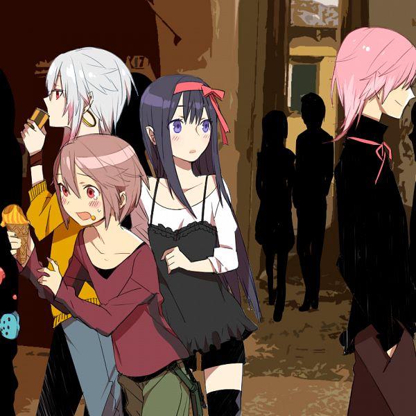 Tags: Anime, Kurono Yuu, Mahou Shoujo Madoka☆Magica, Kaname Madoka, Kaname Tatsuya, Akemi Homura, Sakura Kyouko, Kyubee, Fanart, PNG Conversion, Pixiv, Fanart From Pixiv, Magical Girl Madoka Magica