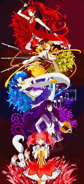 Tags: Anime, Kite-mitiko, Mahou Shoujo Madoka☆Magica, Sakura Kyouko, Akemi Homura, Kyubee, Tomoe Mami, Miki Sayaka, Kaname Madoka, Grave, PNG Conversion, Magical Girl Madoka Magica