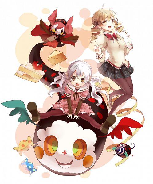 Tags: Anime, Shima Shinoji, Mahou Shoujo Madoka☆Magica, Bebe (Madoka Magica), Charlotte (Madoka Magica), Momoe Nagisa, Tomoe Mami, Pyotr, Cheese, PNG Conversion, Pixiv, Fanart, Fanart From Pixiv, Magical Girl Madoka Magica