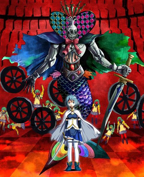 Tags: Anime, Ashi Ura, Mahou Shoujo Madoka☆Magica, Oktavia von Seckendorff, Klarissa, Miki Sayaka, Wheel, Fanart From Pixiv, Pixiv, PNG Conversion, Fanart, Magical Girl Madoka Magica