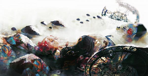 Tags: Anime, Iyumekai, Mahou Shoujo Madoka☆Magica, Kaname Madoka, Akemi Homura, Stained Glass, Fanart From Pixiv, Pixiv, PNG Conversion, Fanart, Facebook Cover, Magical Girl Madoka Magica