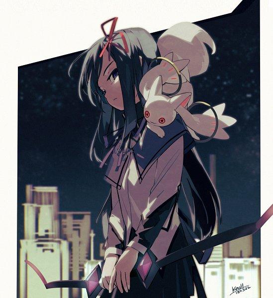Tags: Anime, Pixiv Id 4424625, Mahou Shoujo Madoka☆Magica, Akemi Homura, Kyubee, Pixiv, Fanart From Pixiv, Fanart, Magical Girl Madoka Magica