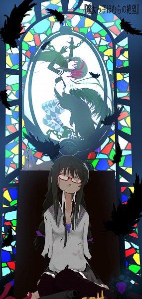 Tags: Anime, Pixiv Id 6645452, Mahou Shoujo Madoka☆Magica, Kyubee, Akemi Homura, Akuma Homura, Argyle Legwear, Mobile Wallpaper, Pixiv, Fanart From Pixiv, Fanart