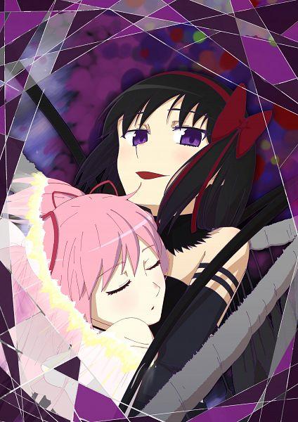 Tags: Anime, Pixiv Id 21025879, Mahou Shoujo Madoka☆Magica, Akuma Homura, Ultimate Madoka, Kaname Madoka, Akemi Homura, Head on Chest, Head In Breasts, Transformation