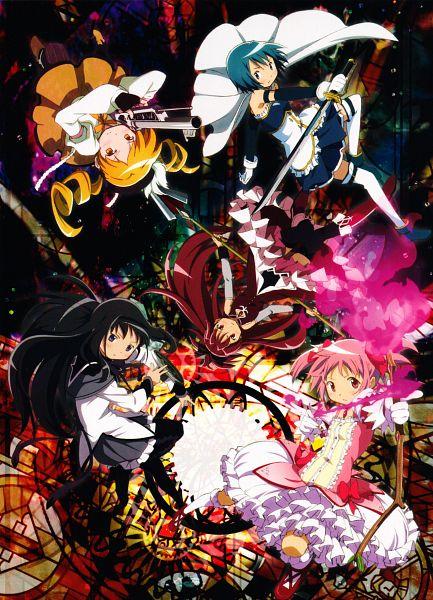 Tags: Anime, Shaft (Studio), Mahou Shoujo Madoka☆Magica, Miki Sayaka, Kaname Madoka, Akemi Homura, Sakura Kyouko, Tomoe Mami, Official Art, Scan