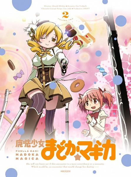Tags: Anime, Kishida Takahiro, Shaft (Studio), Mahou Shoujo Madoka☆Magica, Tomoe Mami, Kaname Madoka, Shotgun, Official Art, Scan, DVD (Source), Magical Girl Madoka Magica