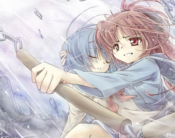 Tags: Anime, Itsutsuki, Mahou Shoujo Madoka☆Magica, Sakura Kyouko, Miki Sayaka, Nunchaku