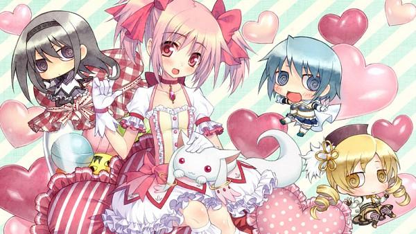 Tags: Anime, Yupon, Mahou Shoujo Madoka☆Magica, Kyubee, Tomoe Mami, Miki Sayaka, Kaname Madoka, Sakura Kyouko, Akemi Homura, Eyecatcher