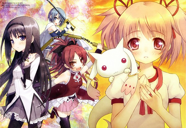 Tags: Anime, Yupon, Shaft (Studio), Mahou Shoujo Madoka☆Magica, Megami #132 2011-05, Kyubee, Miki Sayaka, Kaname Madoka, Akemi Homura, Sakura Kyouko, Official Art, Magical Girl Madoka Magica