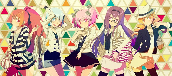 Tags: Anime, Ochakai Shinya, Mahou Shoujo Madoka☆Magica, Kaname Madoka, Sakura Kyouko, Akemi Homura, Kyubee, Tomoe Mami, Miki Sayaka, Facebook Cover