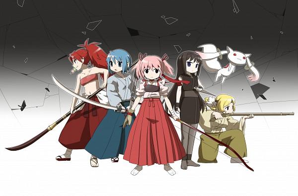 Tags: Anime, Ume (Noraneko), Mahou Shoujo Madoka☆Magica, Sakura Kyouko, Akemi Homura, Kyubee, Tomoe Mami, Miki Sayaka, Kaname Madoka, Naginata