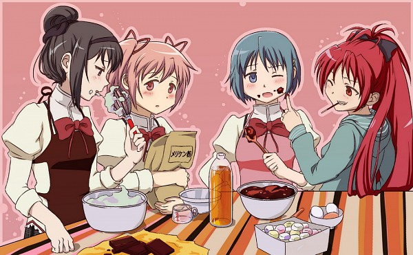Tags: Anime, Bagoflimbs, Mahou Shoujo Madoka☆Magica, Sakura Kyouko, Miki Sayaka, Kaname Madoka, Akemi Homura, Flour