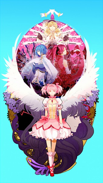 Tags: Anime, Wings (Tsubasawings), Mahou Shoujo Madoka☆Magica, Miki Sayaka, Kaname Madoka, Sakura Kyouko, Akemi Homura, Kyubee, Tomoe Mami, Shotgun, Mobile Wallpaper