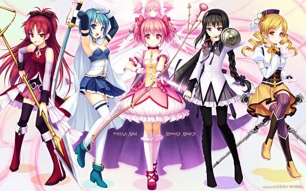 Tags: Anime, Sayori, Mahou Shoujo Madoka☆Magica, Moe Shoujo Ryouiki - Witch/stay night, Kaname Madoka, Ultimate Madoka, Akemi Homura, Sakura Kyouko, Tomoe Mami, Miki Sayaka, Wallpaper, Scan