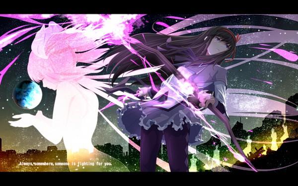 Tags: Anime, Tsukumo (Pixiv28005), Mahou Shoujo Madoka☆Magica, Ultimate Madoka, Kaname Madoka, Akemi Homura, Wallpaper, Magical Girl Madoka Magica