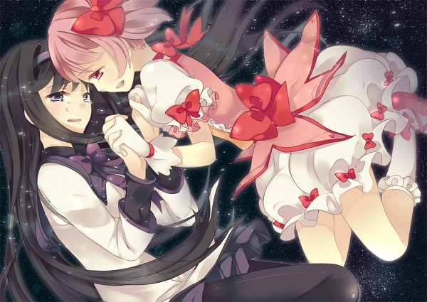 Tags: Anime, Maki (Natoriumu), Mahou Shoujo Madoka☆Magica, Akemi Homura, Kaname Madoka, Pixiv, Fanart, Puella Magi Madoka Magica