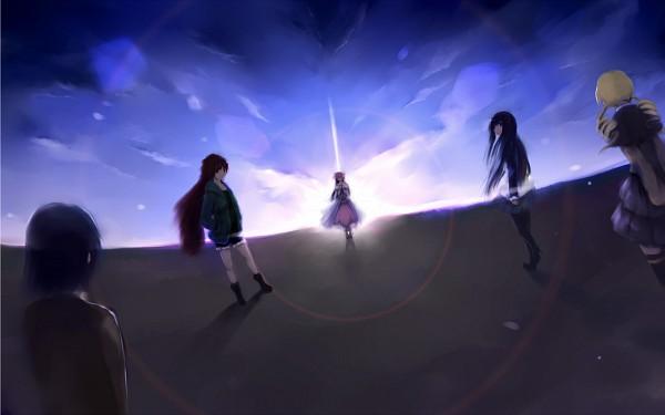 Tags: Anime, Mahou Shoujo Madoka☆Magica, Tomoe Mami, Miki Sayaka, Kaname Madoka, Akemi Homura, Sakura Kyouko, Wallpaper