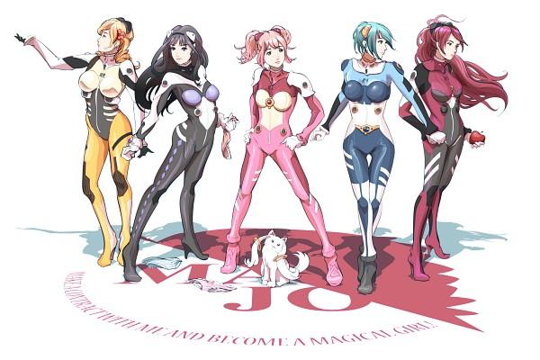 Tags: Anime, Hy136, Mahou Shoujo Madoka☆Magica, Kaname Madoka, Sakura Kyouko, Akemi Homura, Kyubee, Tomoe Mami, Miki Sayaka, Neon Genesis Evangelion (Parody), Neon Genesis Evangelion (Cosplay), Pixiv, Magical Girl Madoka Magica