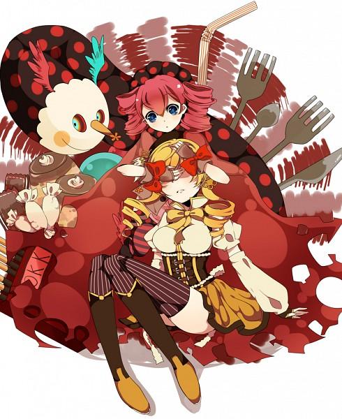 Tags: Anime, Anthiea, Mahou Shoujo Madoka☆Magica, Charlotte (Madoka Magica), Tomoe Mami, Straw