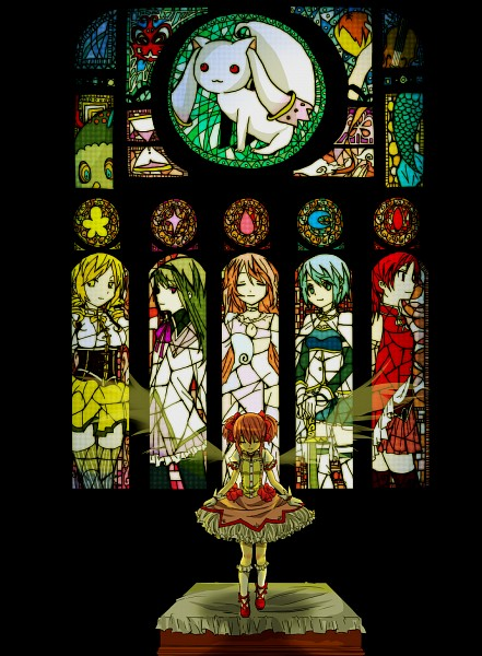 Tags: Anime, Pixiv Id 2949908, Sakura Kyouko, Akemi Homura, Kyubee, Tomoe Mami, Miki Sayaka, Ultimate Madoka, Kaname Madoka, Bowing, Hourglass, Magical Girl Madoka Magica