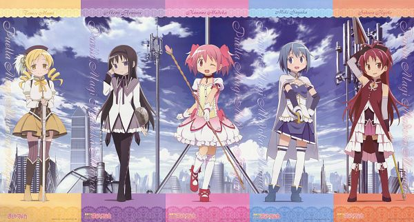 Tags: Anime, Shaft (Studio), Mahou Shoujo Madoka☆Magica, Tomoe Mami, Miki Sayaka, Kaname Madoka, Akemi Homura, Sakura Kyouko, Official Art, Wallpaper, Facebook Cover, Magical Girl Madoka Magica