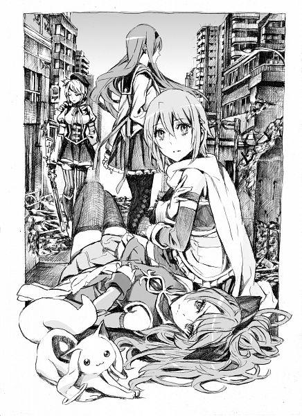Tags: Anime, Nobita, Mahou Shoujo Madoka☆Magica, Tomoe Mami, Miki Sayaka, Sakura Kyouko, Akemi Homura, Kyubee, Destruction, Traditional Media, Mobile Wallpaper, Pixiv, Fanart, Puella Magi Madoka Magica