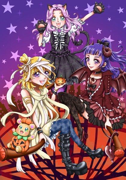 Tags: Anime, Pixiv Id 2024783, Mahou Tsukai Precure!, Haa-chan, Izayoi Riko, Mofurun, Hanami Kotoha, Asahina Mirai, Pumpkin Costume, Mummy, Fanart