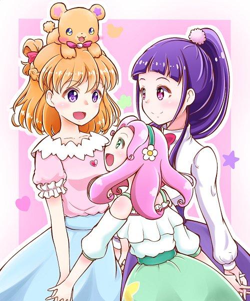 Tags: Anime, Pixiv Id 14388480, Mahou Tsukai Precure!, Asahina Mirai, Hanami Kotoha, Haa-chan, Izayoi Riko, Mofurun, Fanart From Pixiv, Pixiv, Fanart