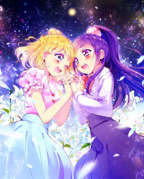 Tags: Anime, Pixiv Id 965792, Mahou Tsukai Precure!, Asahina Mirai, Izayoi Riko, Milky Way, Galaxy, White Lily, White Petal, Pixiv, Fanart, Fanart From Pixiv