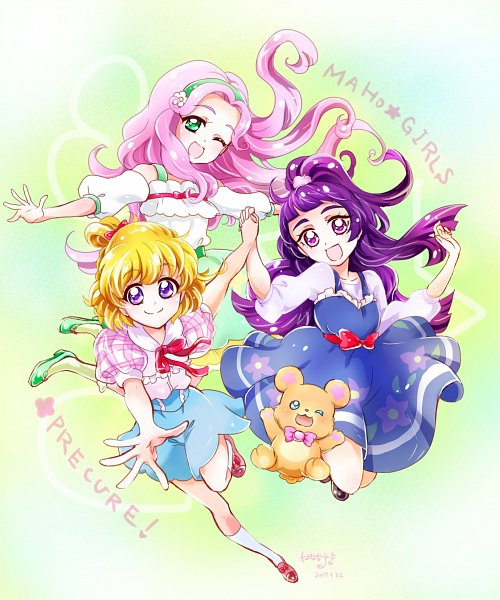 Tags: Anime, Pixiv Id 19769039, Mahou Tsukai Precure!, Hanami Kotoha, Haa-chan, Izayoi Riko, Mofurun, Asahina Mirai, Twitter, Fanart