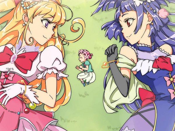 Tags: Anime, Pixiv Id 9654784, Mahou Tsukai Precure!, Cure Miracle, Haa-chan, Izayoi Riko, Cure Magical, Asahina Mirai, Fanart, Fanart From Pixiv, Pixiv, Wallpaper