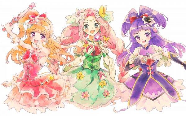 Tags: Anime, Pixiv Id 15435592, Mahou Tsukai Precure!, Cure Magical, Asahina Mirai, Hanami Kotoha, Cure Miracle, Cure Felice, Izayoi Riko, Flower Dress, Fanart, Twitter, Fanart From Pixiv