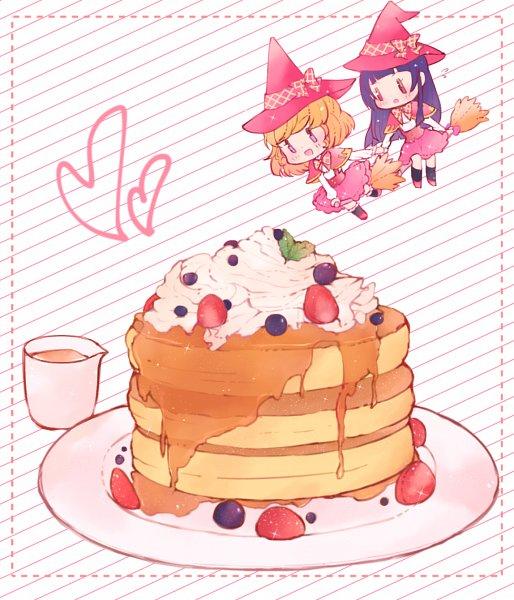 Tags: Anime, Pixiv Id 15973533, Mahou Tsukai Precure!, Izayoi Riko, Asahina Mirai, Cream, Looking At Food, Pancakes, Syrup, Twitter, Pixiv, Fanart From Pixiv, Fanart