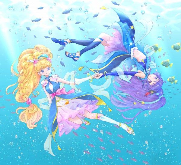 Tags: Anime, Pixiv Id 4520770, Mahou Tsukai Precure!, Asahina Mirai, Cure Miracle, Izayoi Riko, Cure Magical, Fanart, Sapphire Style, Fanart From Pixiv, Pixiv