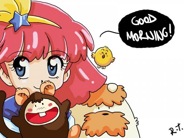 Tags: Anime, Rizaturker, Mahou no Princess Minky Momo, Mocha (Minky Momo), Minky Momo, Pipiru, Shindobu, Text: Good Morning, Sketch, Magical Princess Minky Momo: Hold On To Your Dreams