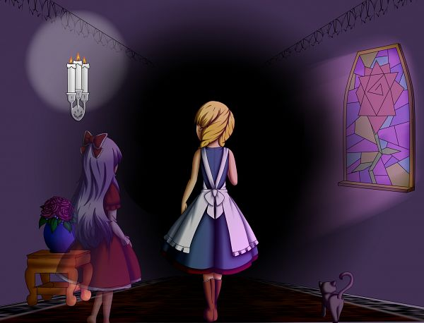 Tags: Anime, Yamon-venzli, Majo no Ie, Viola (Majo no Ie), Ellen (Majo no Ie), The Black Cat (Majo no Ie), Vase, Stained Glass, Transparent Body, deviantART, Fanart, The Witch's House