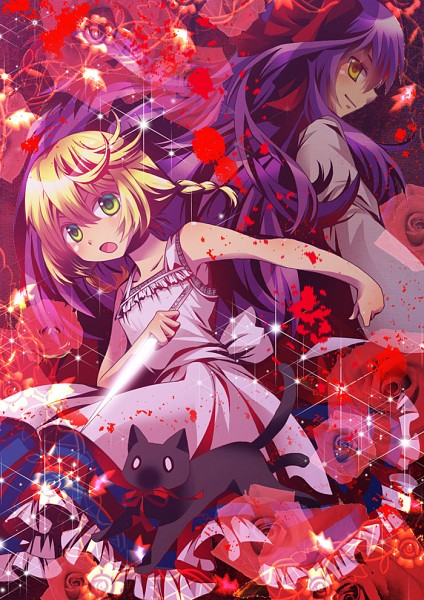 Tags: Anime, Yyukke, Majo no Ie, Ellen (Majo no Ie), The Black Cat (Majo no Ie), Viola (Majo no Ie), Mobile Wallpaper, The Witch's House