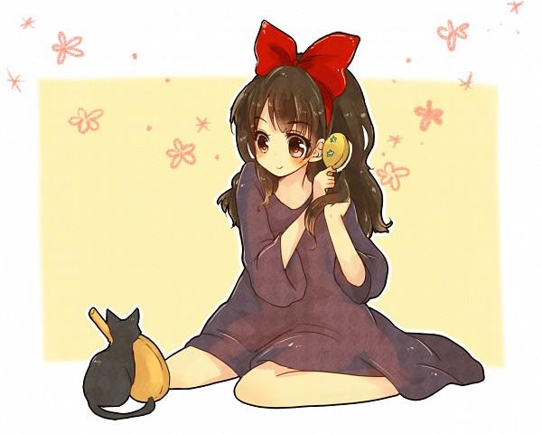 Tags: Anime, Yurane, Majo no Takkyuubin, Jiji (Majo no Takkyuubin), Kiki (Majo no Takkyuubin), Hand Mirror, Brush, Hair Brushing, Fanart, Pixiv, Kiki's Delivery Service