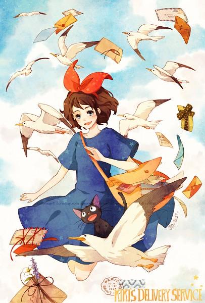 Tags: Anime, Cartoongirl7, Majo no Takkyuubin, Jiji (Majo no Takkyuubin), Kiki (Majo no Takkyuubin), Seagull, Mobile Wallpaper, deviantART, Kiki's Delivery Service