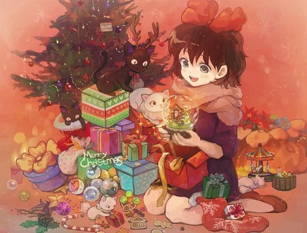 Tags: Anime, saya (Pixiv3272487), Majo no Takkyuubin, Kiki (Majo no Takkyuubin), Jiji (Majo no Takkyuubin), Candy Cane, Pixiv, Fanart, Kiki's Delivery Service