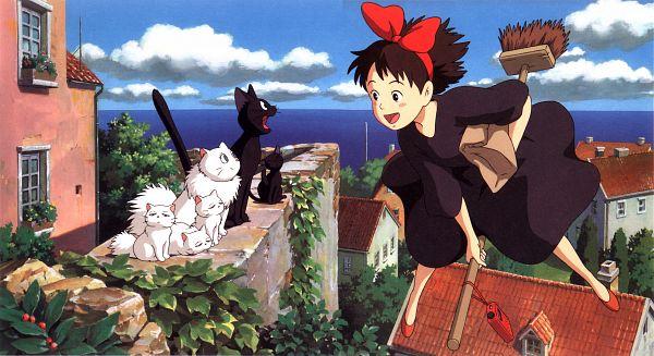 Tags: Anime, Studio Ghibli, Majo no Takkyuubin, Kiki (Majo no Takkyuubin), Jiji (Majo no Takkyuubin), Facebook Cover, Official Art, Wallpaper, Kiki's Delivery Service